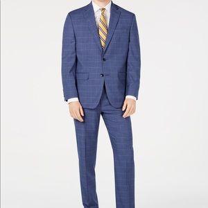 Classic-Fit Stretch Windowpane Sharkskin Suit NWT
